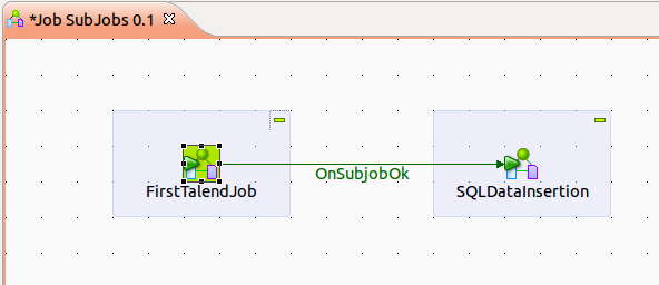 Illustration 48: Sub jobs sequencial execution It is important to check Transmit the whole context in the Component tab when a job requires context variables.