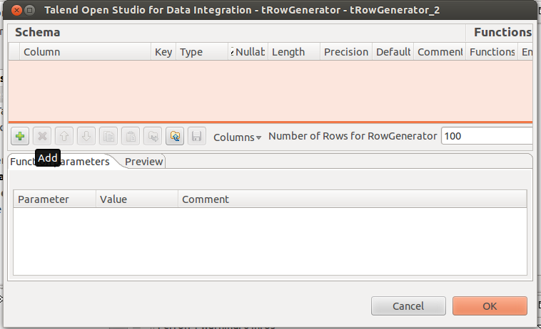 Illustration 6: trowgenerator configuration trowgenerator generates a user defined collection of rows. Lets suppose that we want to generate 100 rows of data with a sequence from 1 to 100.