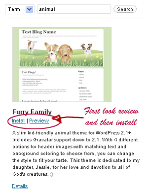 Option 2 [ Search for themes by keyword, author, or tag ] :- Here you can find a Wordpress theme search by using a keyword. But when I search dog in the search column, I could not find any result.