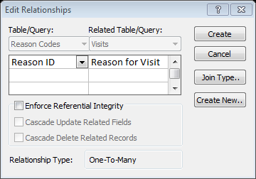 8. 9. Drag the linking (common) field from one table to the same data type field in the other table. Verify the information in the Edit Relationships dialog box.