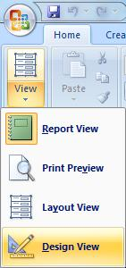 Report View: Generally messy Some labels/fields are not large enough to hold the data Resizing Fields 2. Click the drop down arrow on the View option and select Design View.