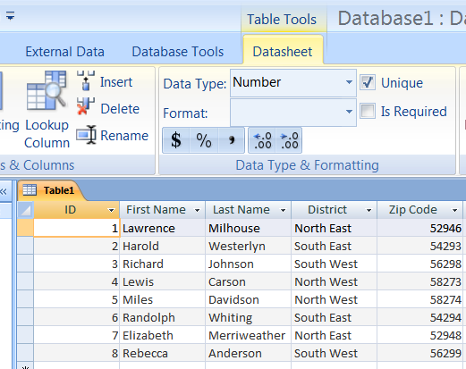 Exercise 2: Tables Use the data in the Table shown below to fill in the information in the following exercises: Adding Field Names, Entering Data Into a Table Adding Field Names 1.