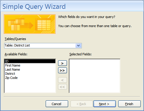 You will see the New Query box open. 5. Select Simple Query Wizard. 6. Click OK. 7.