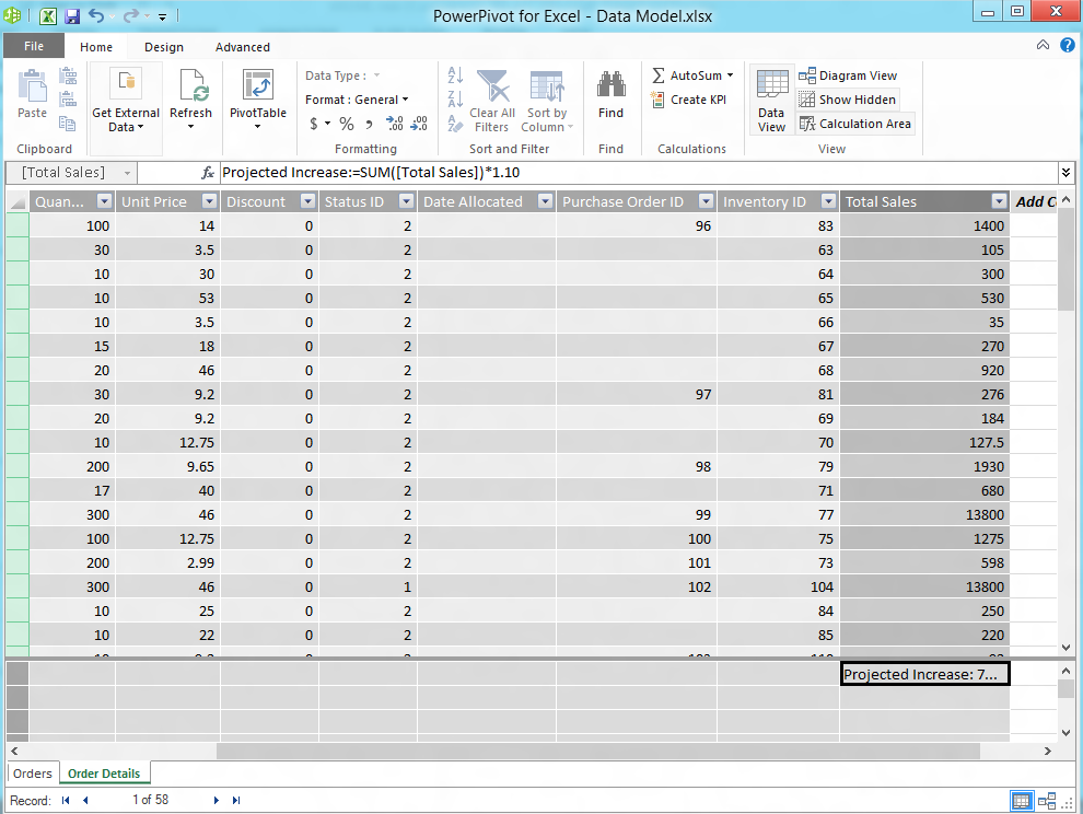 33.3- Calculated Columns and Fields (cont d.): PowerPivot that is placed into the Values section.