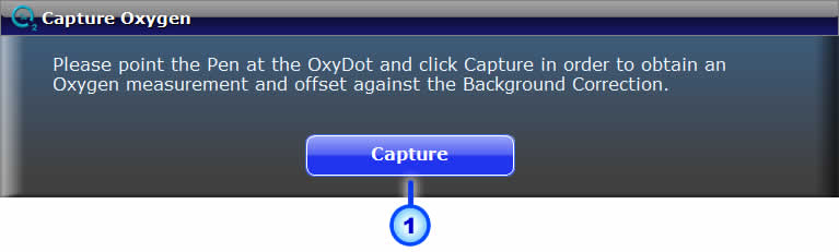 Page: 12 Capture Fig. 1: Background Correction Screen Click the Capture button while pointing the Pen away from the OxyDot.