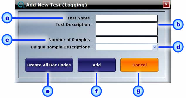 Page: 24 5 Logging / Timer Screen New Test Test Name Browse Active 4. Browse All 5. View Log 6. Start Timer 7. Start Logging a. Interval b. Study Fig.11 Logging-1: Logging Screen 5.