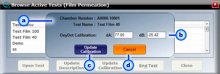 Page: 56 a. Test Name & Chamber b. Test Description c. Update Description d. Cancel Fig. 5.7: Film Permeation Update Description a. The selected Test Name and Chamber Number will be displayed. b. Update the Test Description in the Test Description field.