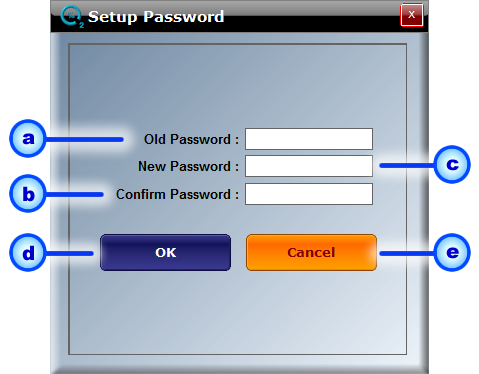Password: Enter the Password in the Password field. The factory set password is oxysense. Change Password: To change the Password, click the Change Password link to display the following screen: a.