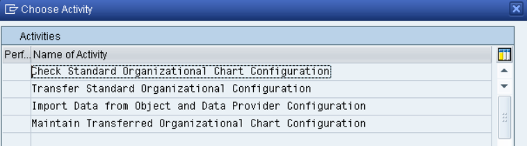 Configure Organizational Chart Visualization Check Standard Organizational Chart Configuration: Customer can review the standard settings shipped in system tables (s-tables, cross-client).