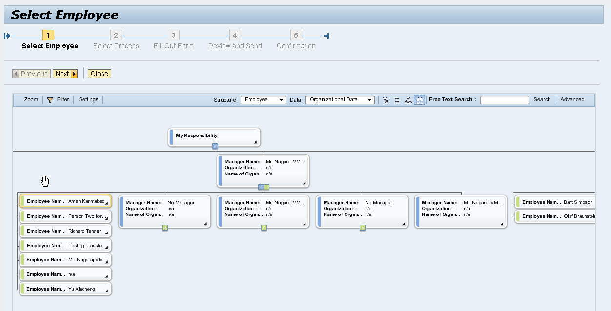 Embedded Org Chart in MSS Managers can now select staff or organizational entities in applications such as HCM Processes and Forms via a embedded org chart view.