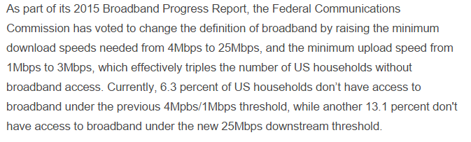 Changing Definition of Broadband The FCC has changed the definition of broadband.