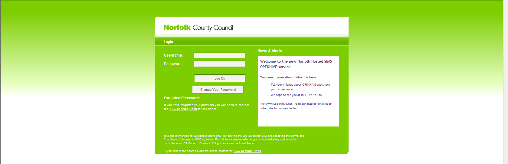 ACCESSING THE NORFOLK HOSTED SIMS SERVICE ADMINISTRATORS GUIDE 1. URL and Login Credentials In order to access the Norfolk Hosted SIMS Service you will be given a unique URL for your organisation.