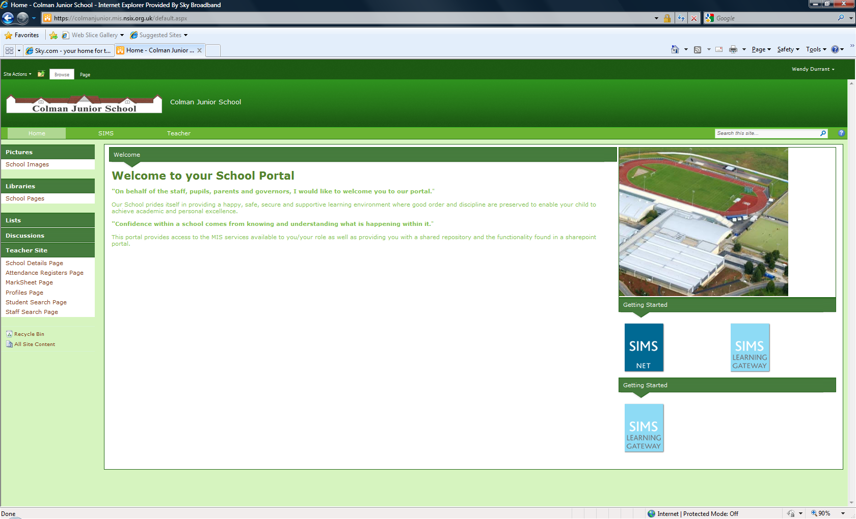 4. The Portal Screen A Test School Your School Name will show here. When you enter the Portal you will be on the Home Page by default.