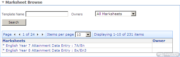 Recording Assessments in a Marksheet Marksheets are tables for entering Assessment results.