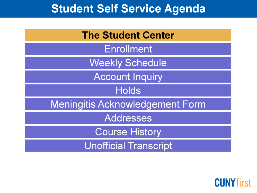 Students are able to manage their school related activities via Self Service. We will begin by viewing the Student Center that provides a snapshot of your current information.