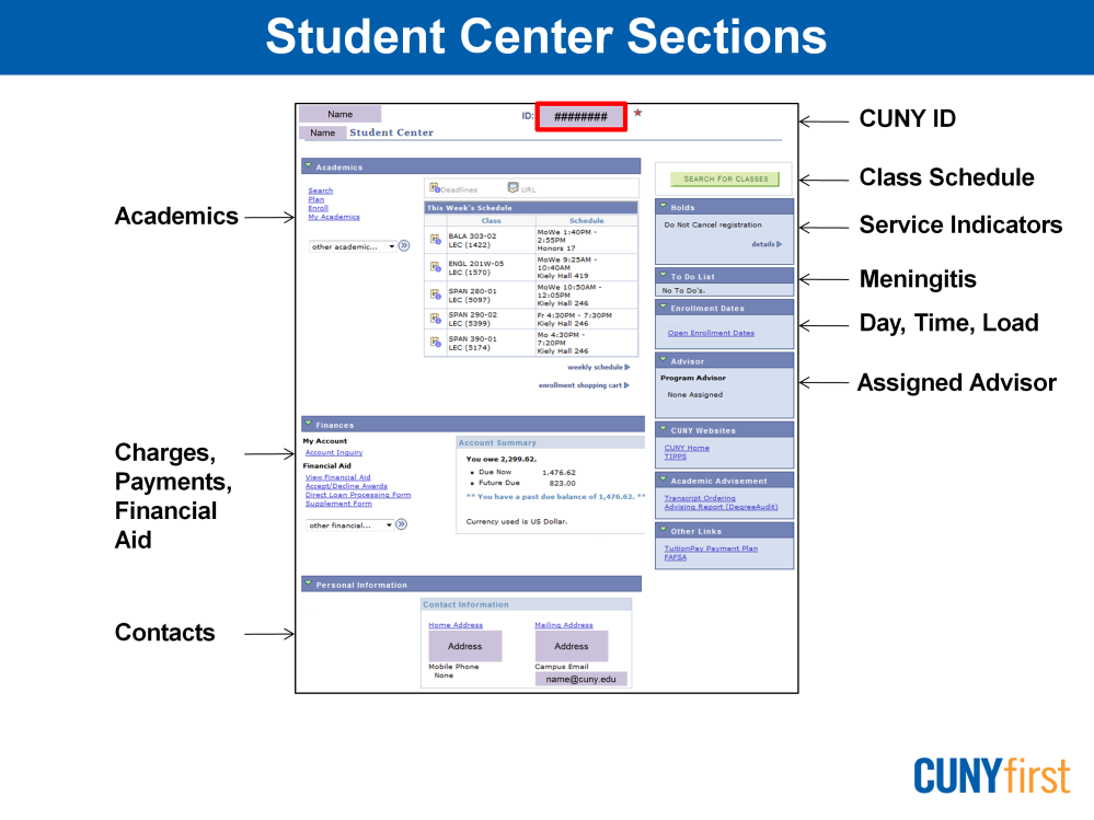 The Student Center component is used to manage school related activities. Notice that your CUNY ID displays at the top of this page.