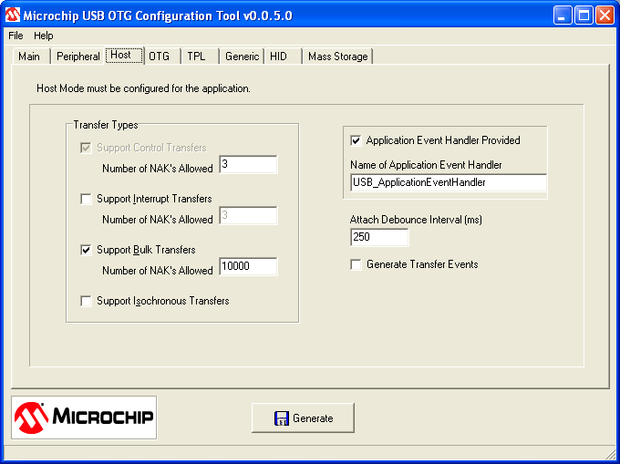 Select the Host tab to configure basic Host operation as shown in Figure 4. The Mass Storage Client Driver requires support for Control and Bulk endpoints.