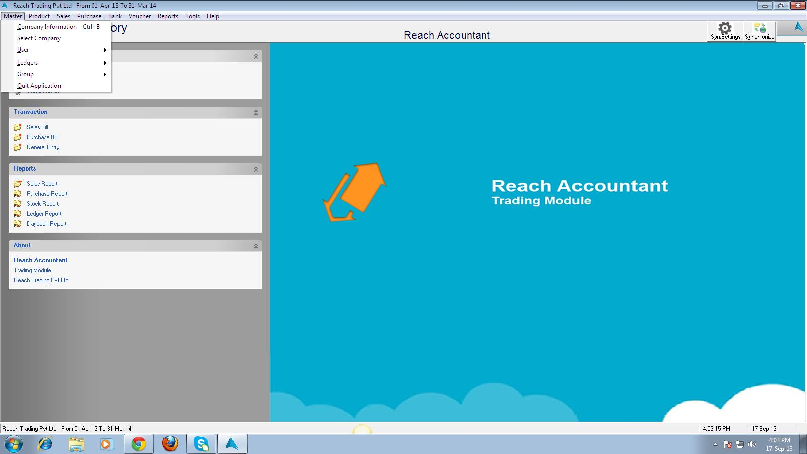 REACH TRADING SOFTWARE USER MANUAL First go to www.reachaccountant.com and download desktop software found at the left hand side bottom under Industrial Verticals (B2C) and follow the steps.
