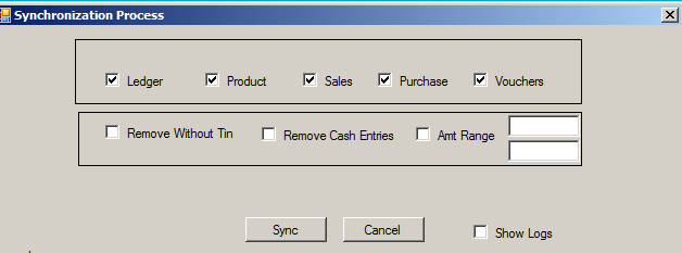 Step 05-Now click Synchronize button and the screen appears as seen above. Select Ledger, Product, Sales, Purchase & Vouchers. Do not select _Remove without tin, Remove cash entries and Amt range.
