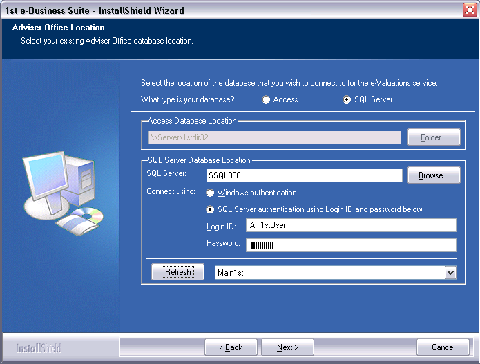 SQL Database For SQL Database users, click Browse to locate the server with the Main1st database, you will need to check the login details are correct as they will default to the SQL 2005 (Username
