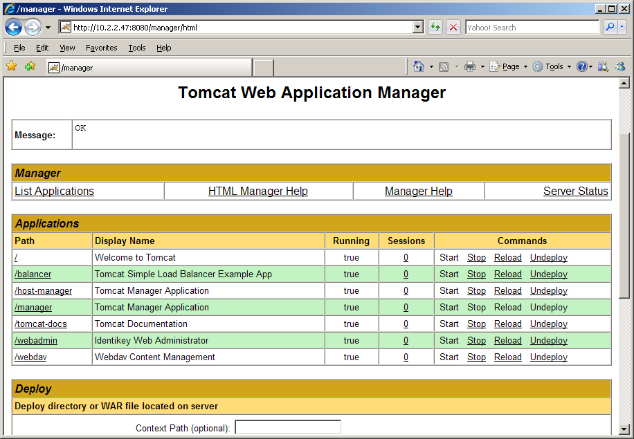 Deploy IDENTIKEY Server Administration Web Interface Image 99: Apache Tomcat Manager 13. Restart the Apache Tomcat service: a. Go to the desktop. b. Right-click on My Computer. c. Click on Manage. d. Expand the Services and Applications heading.