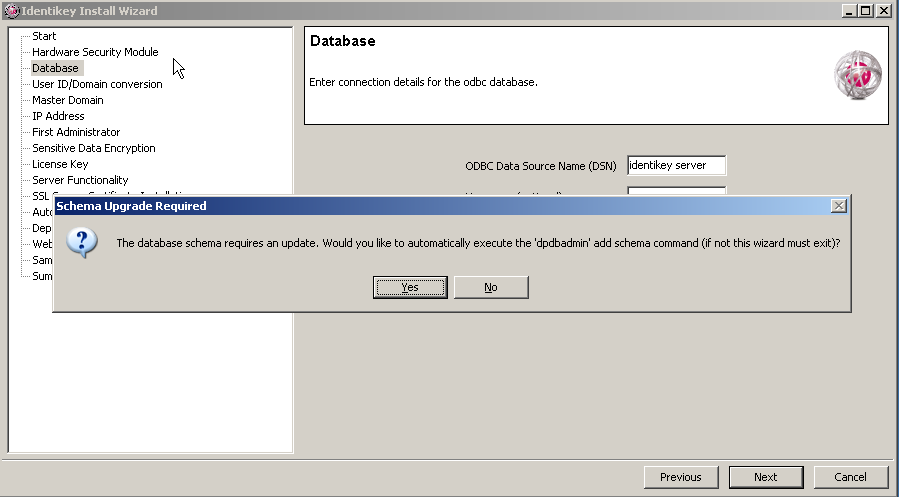 Upgrade IDENTIKEY Server Image 107: IDENTIKEY Server Database Configuration Wizard Window 6. 15.4 If you are upgrading a 64-bit IDENTIKEY Server from 3.1.0 to 3.