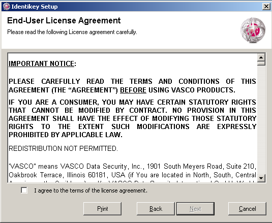 Install IDENTIKEY Server in Basic Mode ODBC Image 4: IDENTIKEY Server Installation -License Agreement Window 4. Read the agreement carefully. 5.