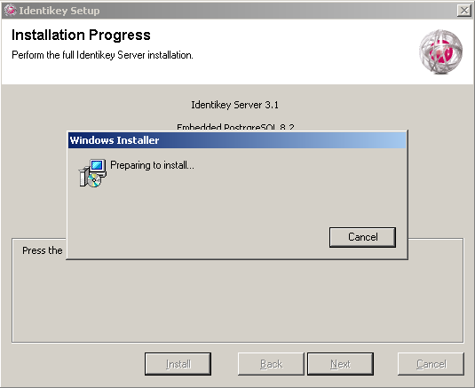 Install IDENTIKEY Server in Basic Mode ODBC Image 7: IDENTIKEY Server Installation - Installation Progress Window The