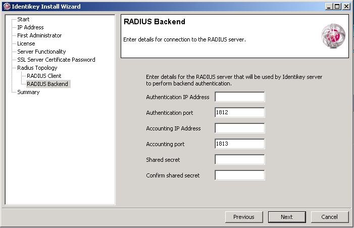 Install IDENTIKEY Server in Basic Mode ODBC Image 17: IDENTIKEY Server Configuration Wizard - RADIUS Client
