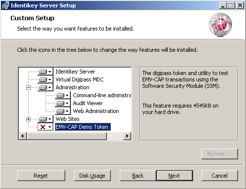 Install IDENTIKEY Server in Advanced mode - ODBC 9. Select the features that you want to be installed by clicking on the icons on the window. Click the Reset button to reset all your choices. 10.