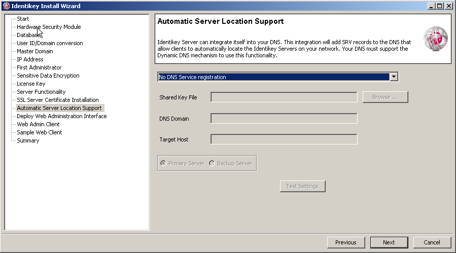 Install IDENTIKEY Server in Advanced mode - ODBC Image 50: IDENTIKEY Server Automatic Server Location Support To skip automatic DNS registration now, select No DNS Service registration.