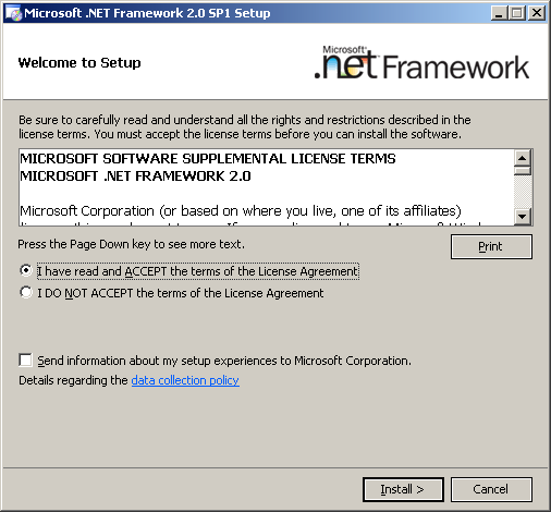Install IDENTIKEY Server - Active Directory Image 59: Microsoft.NET license agreement.