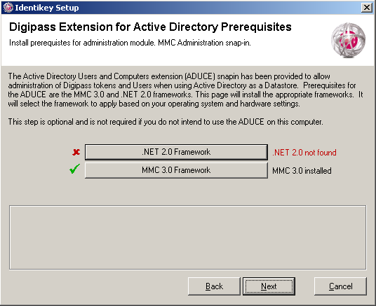 Install IDENTIKEY Server - Active Directory Image 60: IDENTIKEY Server Setup Digipass Extension for Active Directory Prerequisites window.
