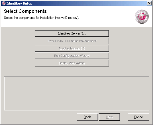 Install IDENTIKEY Server - Active Directory Image 62: IDENTIKEY Server Setup - Select Components