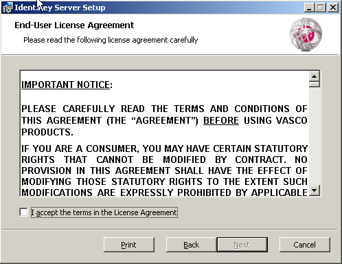 Install IDENTIKEY Server - Active Directory Image 64: IDENTIKEY Server Setup - License Agreement Window 9. Read the agreement carefully. 10.