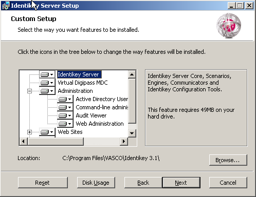 Install IDENTIKEY Server - Active Directory Image 65: IDENTIKEY Server Setup - Custom Setup