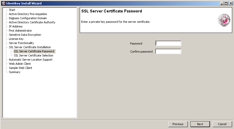 Install IDENTIKEY Server - Active Directory Image 81: IDENTIKEY Server Configuration Wizard SSL Server Certificate Window 34. To use an SSL certificate generated by the Configuration Wizard: a.