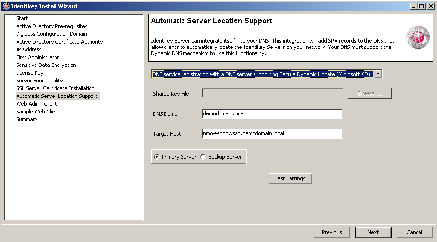 Install IDENTIKEY Server - Active Directory a. Select the Install my own SSL certificate option button. b. Click on Next.