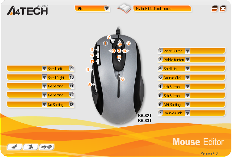 Knowing the function of OSCAR Mouse Editor Software With A4Tech Oscar Mouse Editor, you may tailor-made to simplify the work.