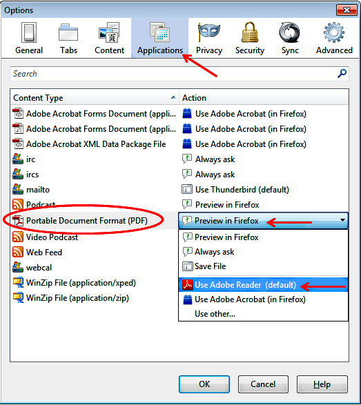 Click the Applications icon, scroll down to Portable Document Format, and select Use Adobe