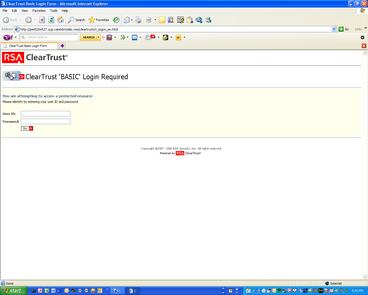 Figure 4. ClearTrust login Note: The RSA ClearTrust user ID must be a valid Documentum user ID.