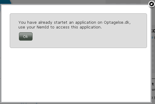 2 Important information and logging in You will then receive a message that your application process has been registered at Optagelse.dk, and a link will be sent to your e-mail address.