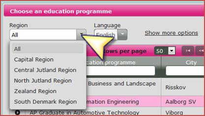5.1 Finding your education choices step 3 You will now come to the page where you can search through your options.