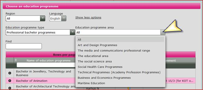 5.1 Finding your education choices More search options: If you no longer wish to see these search options, you can remove them by clicking Show less options.