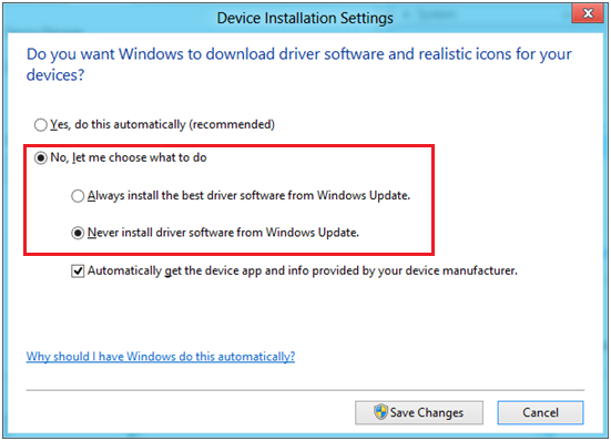 3. Click No, let me choose what to do and click Never installed