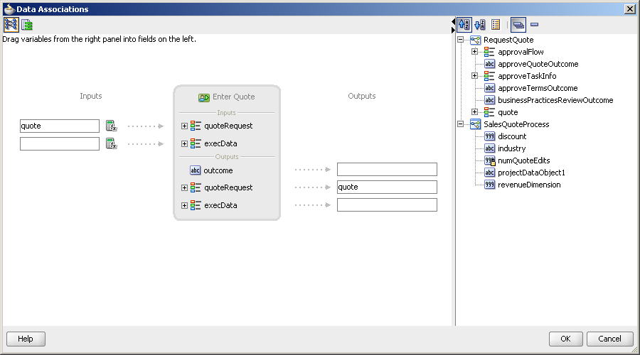 Introduction to Transformations Figure 8 5 shows the data association for the Enter Quote user task in the Sales Quote example.