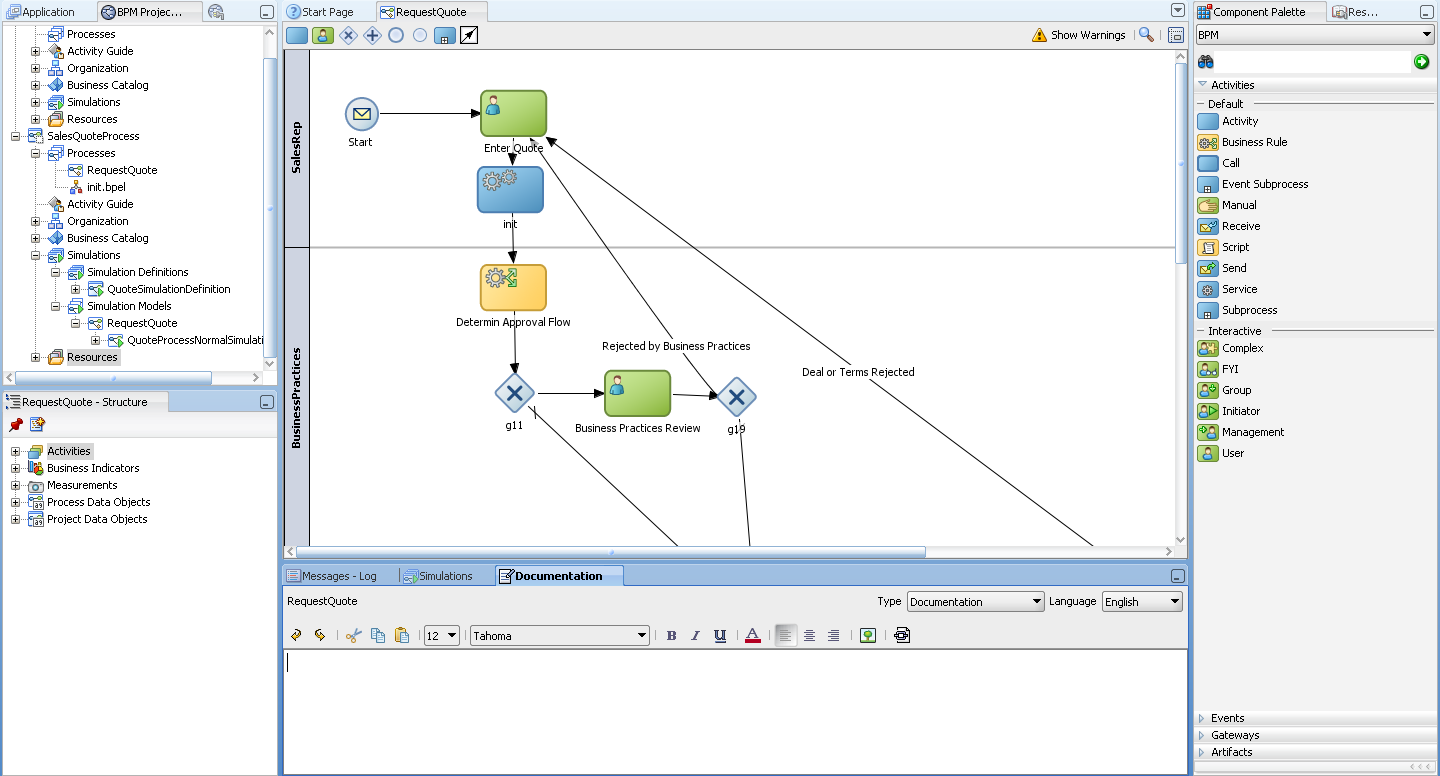 Introduction to the Oracle BPM Studio User Interface 3.