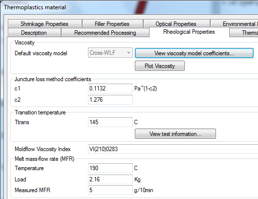 MFR as reference value for viscosity?