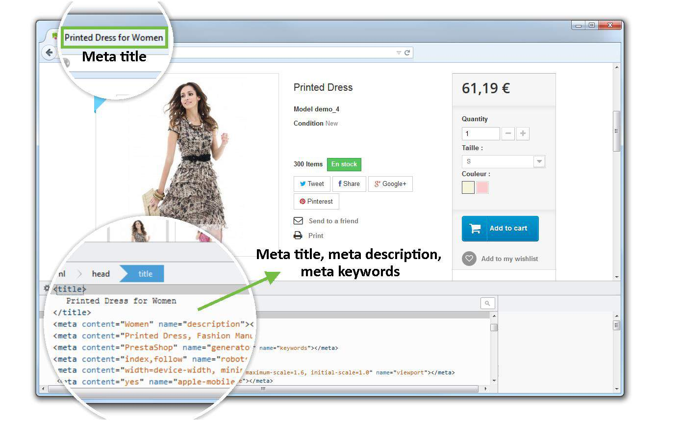 SEO Expert allows you to create meta tags for your product pages.