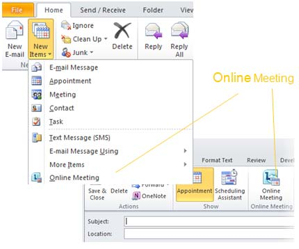 29, MICROSOFT LYNC 2010 Schedule an Online Meeting The Online Meeting Add in for Microsoft Outlook is installed automatically when you install Lync.